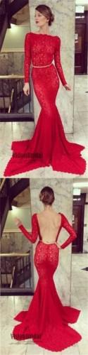 Red Long Sleeves Lace Mermaid Prom Dress, Open Back Prom Dress With Golden Band, Prom Dress, VB0214