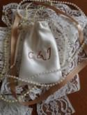 HandCrafted Luxury Duchess Satin Wedding Ring Pouch / Bag - Personalised
