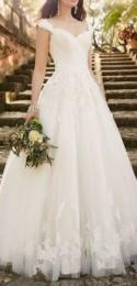 Lace Wedding Dress With Cap Sleeves From Essense Of Australia #wedding