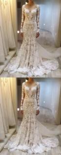 2018 Custom Long Sleeves Lace Elegant Fashion Charming Wedding Dresses, Bridal Dress, PD0603