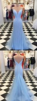 Mermaid Spaghetti Straps Sweep Train Blue Sequined Backless Prom Dress