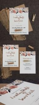 Beautiful Peonies Wedding Invitation