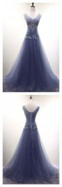 V-neck Beading Long Tulle Prom Dresses(ED2387)