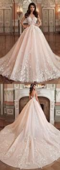 Princess Tulle Bateau Ball Gown Wedding Dress With Lace Appliques OK791