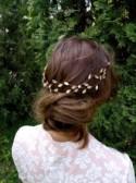 Rose Gold wedding hair vine Crystal Hair Vine babys breath hair piece haarschmuck gold bridal headpiece forehead headband for wedding tiara