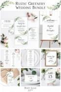printable wedding invitation set bundle, editable rustic greenery full wedding suite template, diy wedding stationery sign kit, DLP01