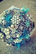 DEPOSIT for Custom Aqua Blue & White Pearl Brooch Bridal Wedding Bouquet