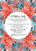 Red poinsettia Merry Christmas Party Invitation needles fir floral greeting card noel PDF 5x7 in PDF editor