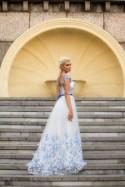 White and Blue Wedding dress, Color wedding dress with butterflies, Modest wedding dress gown, White bridal gown Fairy wedding dress in blue