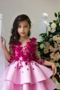 Flower girl dress Burgundy lace flower girl dress Pink junior bridesmaid dress Formal baby dress Elegant toddler dress for Birthday