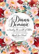 Wedding invitation set autumn marsala pink peony rose watercolor greenery PDF 5x7 in invitation maker