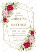 Wedding invitation set red pink rose greenery wreath card template PDF 5x7 in wedding invitation maker