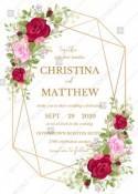 Wedding invitation set red pink rose greenery wreath card template PDF 5x7 in wedding invitation maker