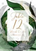 Table card wedding invitation set watercolor splash greenery floral wreath, herbs garland gold frame PDF 3.5x5 in edit template