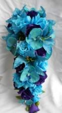 Bridal wedding set Malibu blue cascade silk flowers bouquet tiger lilies , orchids and roses