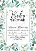 Baby shower Greenery wedding invitation set watercolor herbal background PDF 5x7 in invitation maker