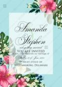 Hibiscus wedding invitation card template blue background