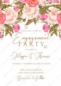 Engagement party wedding invitation set pink garden peony rose greenery PDF 5x7 in invitation editor