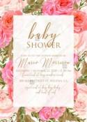 Baby shower wedding invitation set pink garden peony rose greenery PDF 5x7 in