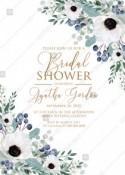 White anemone bridal shower greenery wedding invitation set menthol greenery berry PDF 5x7 in create online