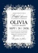 Bridal shower white anemone navy blue background wedding invitation set PDF 5x7 in invitation maker