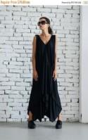 20% OFF Maxi Black Dress/Plus Size Dress/Casual Summer Dress/Asymmetric Long Tunic/Oversize Tunic Dress/Plus Size Maxi Dress by METAMORPHOZA