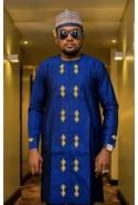 blue and gold men's African outfit, African men's clothing / wedding suit/dashiki / African men's shirt/ vêtement africain/ chemise et panta