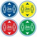 Floor decals social distancing stickers, 2m metres distance graphic Blue Green Yellow Red Sticker for Floor, Shop, Retail, School Floors