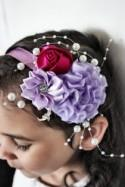 Lilac Flower Headband, Flower Girl Headband, Wedding Headband, Pearl Headband, Raspberry Rose Childrens Headband Photo Prop 5T to Adult
