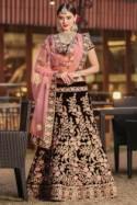 Majestic Maroon Velvet Wedding Wear Embroidered work Bridesmaid Lehenga Choli for usa wedding women Online Boutique