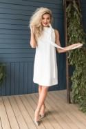Casual White Dress, Simple Wedding Dress Short, Knee Length Dress with Bow, Loose Fit dress, Casual Dress for women, Size XS / Size XL