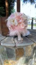 Shabby chic Bridal bouquet with Rhinestones Beadings Pearls , Blush pink bouquet, Alternative Bridal Brooch Bouquet, Wedding Bouquet