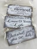 Wedding, Ring Bearer sign, set of 3, gray wedding decor, Here comes the bride alternates, wedding aisle signs, flower girl signs, KerriArt