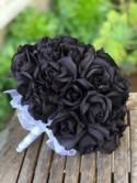 Black Rose Silk Wedding Flower Bouquet - 3 dozen silk bridal bouquet - Black Beauty Rose(36 black rose)