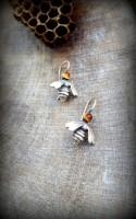 Citrine Earrings, Petite Silver Queen Bee Earrings, Cabochon set Bee Earrings, Small Bee Dangle Earring, Modern Citrine Silver Bee Earrings