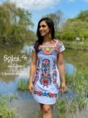Mexican Colorful Embroidered Dress. Beautiful Traditional Dress. Handmade Mexican Dress. Coco Dress. Women's Mexican Formal Dress.