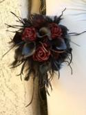 Custom Wedding Bouquet - Sola Wood Flowers in Dark Red, Black Calla Lily, Monkeys Tail, Branches, Feathers, Lace, Gothic Halloween Bride