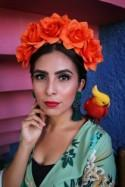 Orange Flower Crown Headband (Mexican Wedding Bridal Headpiece Bride Party Music Festival Boho Gypsy Bridesmaids Adult Wreath Party)