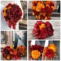 Fall in Love Artificial Sunflower Bridal Bouquet Set, Fall Sunflower Bridal Flowers, Orange or Red Sunflower Wedding Flowers