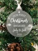Personalised First Christmas Engaged Couples Tree Frosted Bauble Decoration Wedding Gift