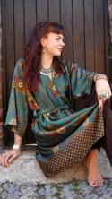Long green silk kimono robe, christmas gift, Dressing gown, Vintage silk kimono, Bridesmaid robes, Boho kimono, Bridal Robe, Kimono Dragon