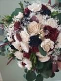 Burgundy and navy blue cascading bouquet, sola wood flowers