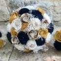 Navy, Gold, Ivory, Wedding Bouquet, Sola Wood Flower Bouquet, Dried Flowers , Brooches Bouquet
