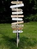 Large Personalised rustic wood wedding way sign signpost wedding venue decoration