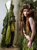 Boho wedding dress in olive green,Bridal gown for fairies dress,forest wedding dress