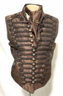 "3pcs Steampunk Brown Waistcoat with black Braiding  with self tie brown silk Cravat ,cog tiepin in size 40""42""44""46"""