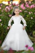 Off shoulder Ivory flower girl dress First Communion Baptism Special occasion