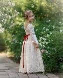 Flower girl dress, long sleeve flower girl dress, rustic flower girl dress, boho flower girl dress, lace flower girl dress, wedding dress