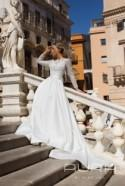 Wedding dress 'BELLA' / Wedding gown with mikado satin skirt and a separate long-sleeve lace bolero shirt in light grey color