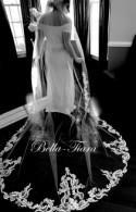royal cathedral wedding veil, lace trim cathedral veil, vintage lace cathedral veil, royal cathedral long veil, long wedding veil
